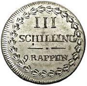 3 Schillings / 9 Rappen – reverse