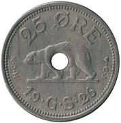 25 Øre - Christian X – reverse