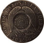 1 Peso (Counter-stamped coinage) – obverse
