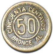 50 Centavos (Provisional coinage) – reverse