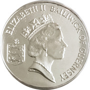2 Pounds - Elizabeth II (50th Anniversary of Liberation; Silver Proof) – obverse