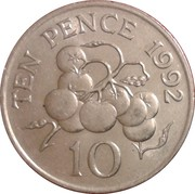 10 Pence - Elizabeth II (3rd portrait; small type) – reverse