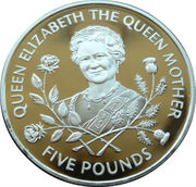 5 Pounds - Elizabeth II (Queen Mother - Silver) -  reverse