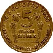5 Francs Guinéens – reverse