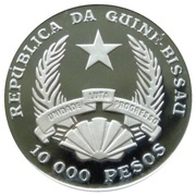 10 000 Pesos (XXV Olympic Games-Floor Exercise) – obverse