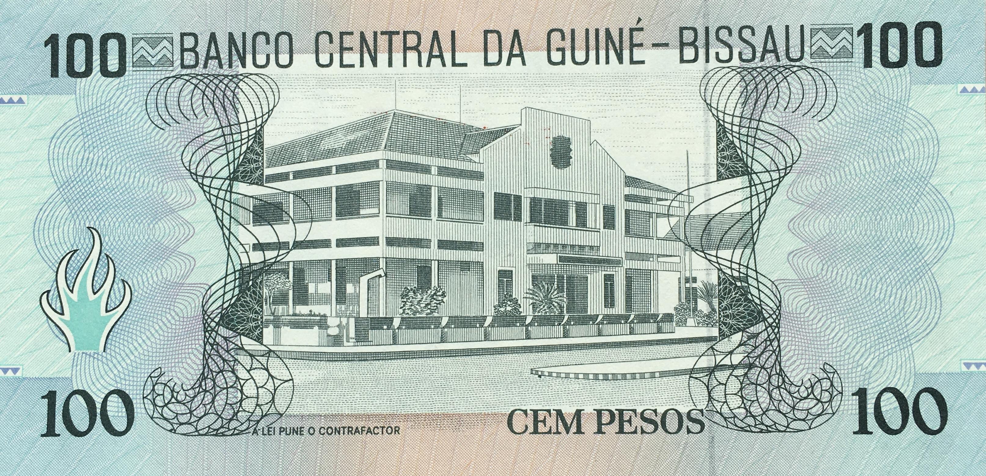 100 PESOS 1990 GUINEA-BISSAU NOTE BANCO CENTRAL DE GUINÉ GUINEA BISSAU Pick-11