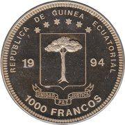 1000 Francos CFA (Diplodocus) – obverse
