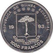 1000 Francos CFA (Plateosaurus) – obverse