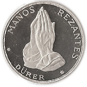 50 Pesetas Guineanas (Dürer's Praying Hands) – reverse