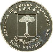 1000 Francos CFA (Brandenburg Gate) – obverse