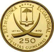 250 Pesetas Guineanas (Dürer's Praying Hands) -  obverse
