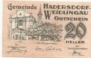 20 Heller (Hadersdorf- Weidlingau) – obverse