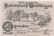 50 Heller (Hadersdorf- Weidlingau) – obverse