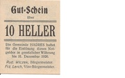 10 Heller (Hadres) – obverse