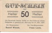 50 Heller (Hadres) – obverse