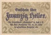 20 Heller (Hall in Tirol - Einsiedler) -  obverse