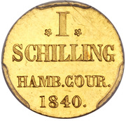 1 Schilling (Gold pattern strike) – reverse