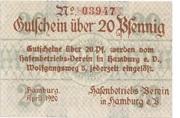 20 Pfennig  (Hafenbetriebs-Verein) – obverse