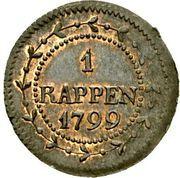 1 Rappen (wreath) – reverse
