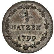 1⁄2 Batzen / 5 Rappen – reverse