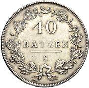 40 Batzen (head facing left) – reverse