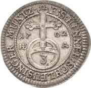 1 Dreier - Moritz Wilhelm von Sachsen-Zeitz – reverse