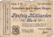 50,000,000,000 Mark (Bingen am Rhein, Kreis) -  obverse