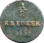 ½ Kreuzer - Ludwig I. – reverse