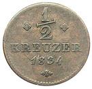 ½ Kreuzer - Wilhelm II and Friedrich Wilhelm – reverse