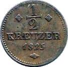 ½ Kreuzer - Wilhelm II – reverse