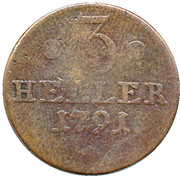 3 Heller - Wilhelm IX. – reverse