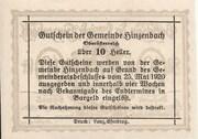 10 Heller (Hinzenbach) -  reverse