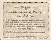 50 Heller (Hinzenbach) – reverse