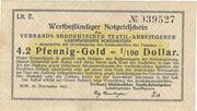 4.2 Pfennig Gold / 1/100 US-Dollar (Verband Süddeutscher Textilarbeitgeber - Landesgruppe Nordbayern) – obverse