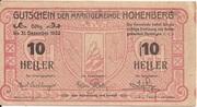 10 Heller (Hohenberg) – obverse
