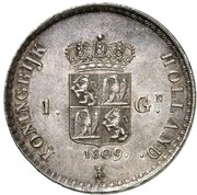 1 Gulden - Louis Napoleon – reverse