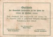 20 Heller (Hollenstein) -  reverse