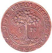 4 Pesos (Provisional Coinage) – reverse