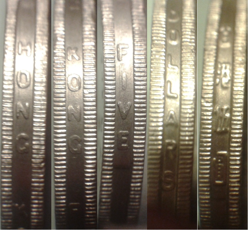 Edge Reeded With Security And Lettering Hong Kong Five Dollars