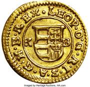 1 Denár - I. Lipót (Leopold I; 1657-1705; Gold trial strike) – obverse