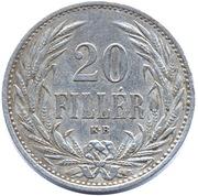 20 Fillér - I. Ferenc József (Franz Joseph I - 1848/1867-1916) -  reverse