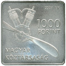 Hungary 1000 forint 2007 Adorjan Janos Libelle Airplane Square Coin BU