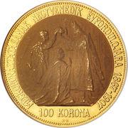 100 Korona - I. Ferenc József (Franz Joseph I - 1848/1867-1916 - Coronation) – reverse