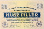 20 Fillér (POW Camp; Dunaszerdahely) – obverse