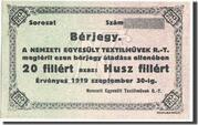 20 Fillér (Nemzeti Egyesült Textilművek Rt.; Budapest) – obverse