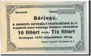 10 Fillér (Nemzeti Egyesült Textilművek Rt.; Budapest) – obverse