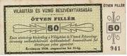 50 Fillér (Világítási és Vízmű Rt.; Székesfehérvár) – obverse