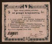 5 Pengő Krajczár (Eger) – obverse