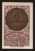 4 Fillér (Hadsegélyező Hivatal) – obverse
