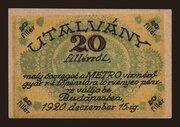 20 Fillér (Metro Vízmérőgyár Rt.; Budapest) – obverse